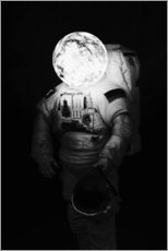 Premium poster Astronaut with moon head