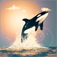 Wood print  Orcas can fly - Martin Ivanov