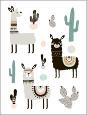 Wood print  Llamas in the desert