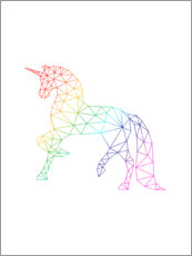 Wood print  Unicorn Rainbow - Nouveau Prints