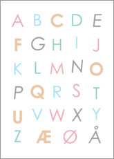 Aluminium print  Scandinavian Alphabet Colourful - Typobox