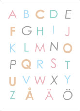 Aluminium print  Swedish alphabet colorful - Typobox