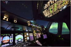 Premium poster  Airbus A380 cockpit with polar lights - Ulrich Beinert