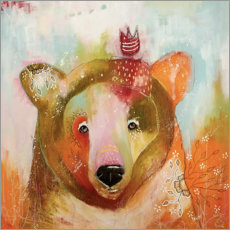 Aluminium print  Little bear king - Micki Wilde