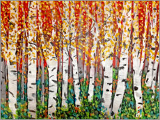 Wood print  Red Sky Over Birch Trees - Ruth Palmer