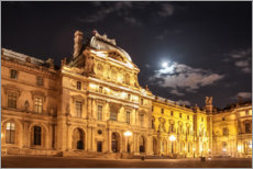 Premium poster Courtyard of the Louvre at night, Paris