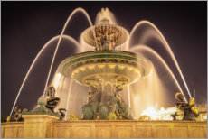 Premium poster Parisian fountain at Place de la Concorde at night
