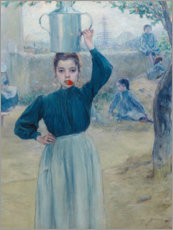 Wood print  The little village girl with red carnation - Adolfo Guiard
