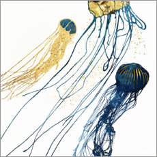 Premium poster  Metallic Jellyfish II - SpaceFrog Designs