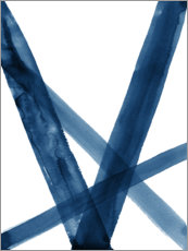 Foam board print  Watercolor Lines in Blue II - Nouveau Prints