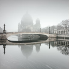 Wood print  Berlin Cathedral in the fog - Philipp Dase