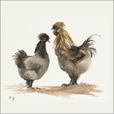 Acrylic print  Chicken couple - Mary Want