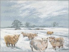 Canvas print  Winter Sheep Landscape - Mary Want