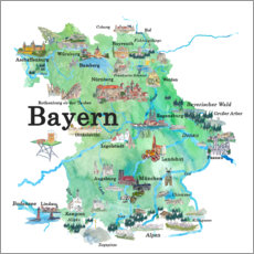 Canvas print  Bavaria map with sights - M. Bleichner