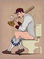 Premium poster  Baseball player on the toilet - Wyatt9