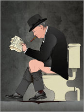 Premium poster Churchill on the toilet