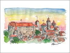 Premium poster Nuremberg Imperial Castle at sunset