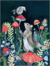 Poster  Mouse and bird with mushrooms - Clara McAllister