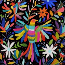 Wood print  Colorful birds - Sylvie Demers