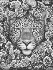 Acrylic print  Jaguar between flowers - Valeriya Korenkova
