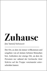 Premium poster Zuhause Definition (German)