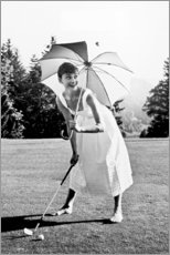 Canvas print  Audrey Hepburn playing Golf - Celebrity Collection