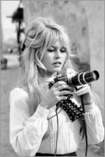 Wood print  Brigitte Bardot with camera - Celebrity Collection