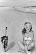 Premium poster Marilyn Monroe at the beach
