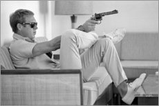 Aluminium print  Steve McQueen with Revolver - Celebrity Collection