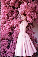 Wood print  Audrey Hepburn in an evening dress. - Celebrity Collection