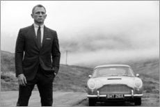 Canvas print  Daniel Craig as James Bond (black and white) - Celebrity Collection