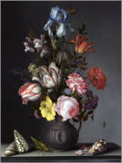 Premium poster Flowers in a Vase with Shells and Insects