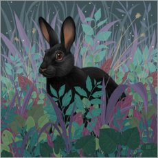 Wood print  Black rabbit in the grass - Vasilisa Romanenko