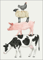 Poster  Funny animal farm pyramid - Grace Popp