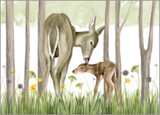 Foam board print  Children of the forest - Deer and her foal - Grace Popp