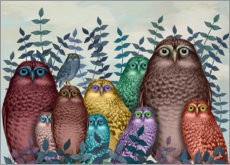 Gallery print  10 colorful owls - Fab Funky