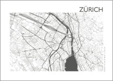 Premium poster City map of Zurich