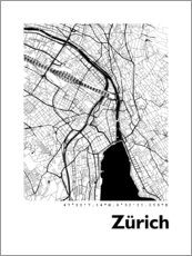 Wood print  City map of Zurich - 44spaces