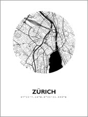 Premium poster City map of Zurich around