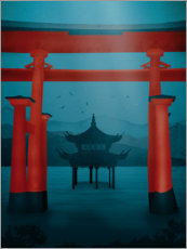 Premium poster Asian gate and temple
