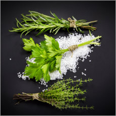 Premium poster Mediterranean herbs on salt bed