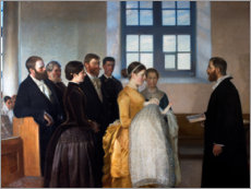 Wood print  A baptism - Michael Peter Ancher