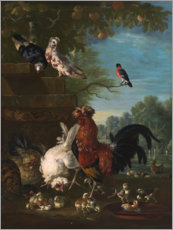 Canvas print  Domestic cock, hens, and chicks in a park - Pieter Casteels III