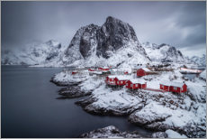 Premium poster Red houses on the snowy Lofoten