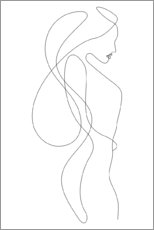 Aluminium print  Lady with long hair - lineart - Sasha Lend