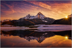 Acrylic print  Watzmann reflection at sunset - Dieter Meyrl