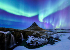 Premium poster  Northern lights over the mountain Kirkjufell