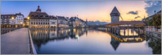 Wood print  Chapel Bridge in Lucerne in the evening - Jan Christopher Becke