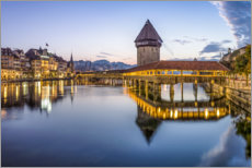 Acrylic print  Old town of Lucerne with Chapel Bridge - Jan Christopher Becke