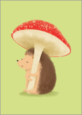 Foam board print  Hedgehog with mushroom - Sandy Lohß